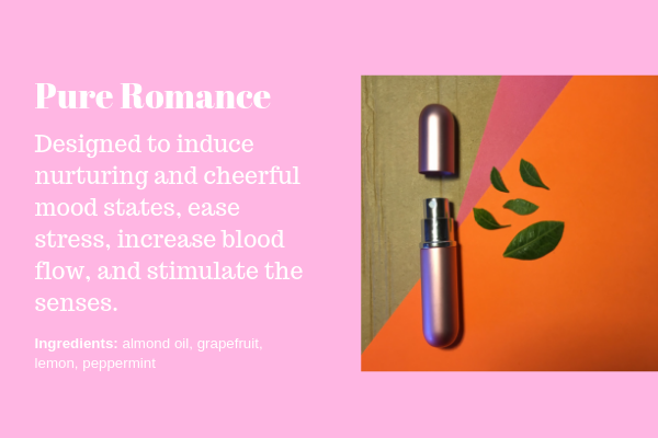 The Pure Romance hand lotion bottle was designed to induce nurturing and cheerful mood states, ease stress, increase blood flow, and stimulate the senses. Orders available through the contact form.