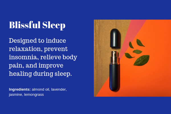 The Blissful Sleep hand lotion was designed to induce relaxation, prevent insomnia, relieve body pain, and improve healing during sleep. Orders available through the contact form.